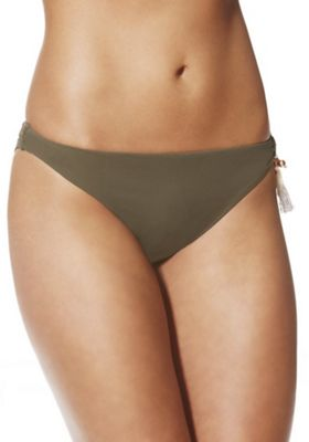 F&F Luxury Swimwear Tassel Trim Brazilian Bikini Briefs 20 Khaki