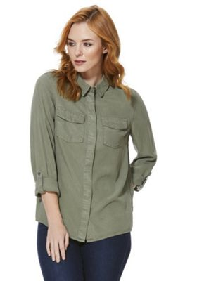 F&F Double Pocket Utility Tencel® Shirt 12 Khaki