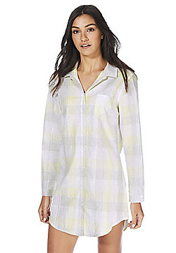 F&F Plaid Check Nightshirt - Yellow & Grey