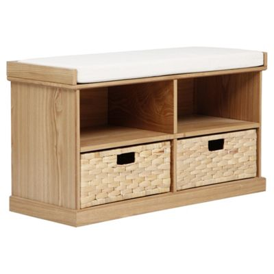 Suffolk Hall Storage Bench With Woven Baskets Pine