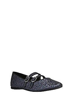 F&F Glitter Pointed Toe Ballerina Pumps - Navy