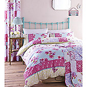 Catherine Lansfield Home Designer Collection Gypsy Patchwork  Bed Cotton Rich Duvet Cover Set - Pink