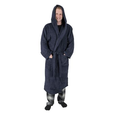 Homescapes Navy Blue 100% Combed Egyptian Cotton Hooded Adults Unisex Bathrobe, Small/Medium
