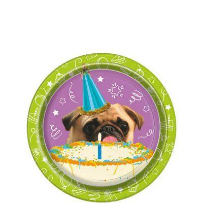 Pug Puppy Birthday Dessert Plates - 18cm