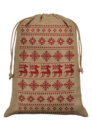 Christmas Reindeer Hessian Santa Sack 40 x 55cm, Brown