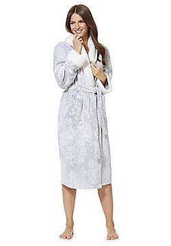 F&F Textured Rose Fleecy Trim Dressing Gown - Grey