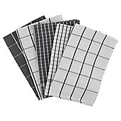 Tesco Basics 5 Piece Grey Check Tea Towels
