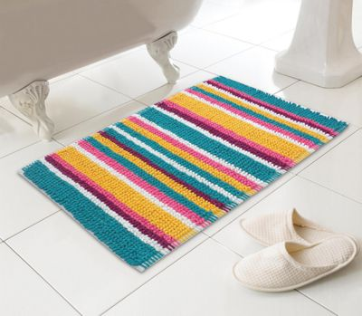 Stripy Microfibre Bobble Bath Mat - Bright Stripes