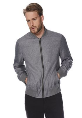 F&F Shower Resistant Textured Bomber Jacket Grey 5XL