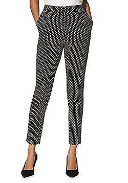 F&F Diamond Jacquard Bengaline Skinny Trousers with Belt - Black & White