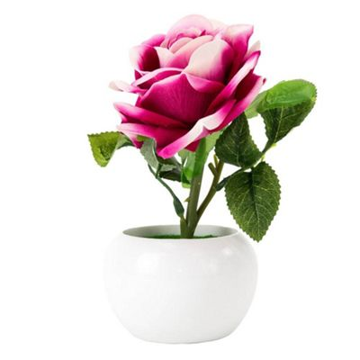 Beautiful Artificial Pink Rose with Velvet Feel Petals in White Plastic Vase