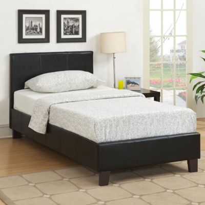 Happy Beds Berlin Faux Leather Low Foot End Bed with Open Coil Spring Mattress - Black - 3ft Single