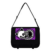 Skeleton Cat On A Mat Black Messenger Bag 38x33x11cm