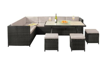 Comfy Living Garden Rattan Corner Sofa Dining Set Table GREY with GREY Cushions and Rain Cover