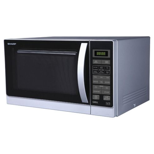 Sharp R762SLM Microwave Oven with Grill, 25L - Silver
