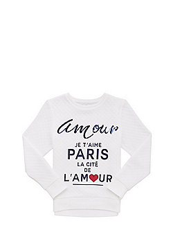 F&F Sequin Slogan Quilted Sweatshirt - White