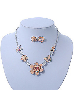 Cream Enamel Flower & Butterfly Necklace & Stud Earring Set In Rhodium Plating - 36cm Length/ 5cm Extension