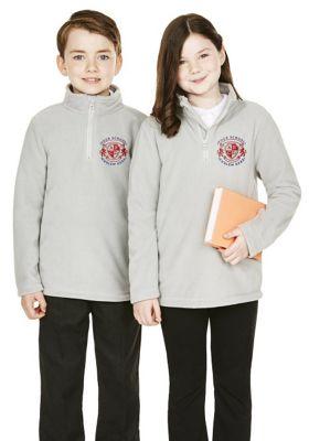 Unisex Embroidered Half Zip School Fleece 12-13 years Grey