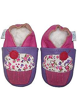 Dotty Fish Soft Leather Baby Shoe - Purple Cupcake - Purple