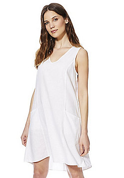 F&F Double Pocket Linen-Blend Tunic Dress - White