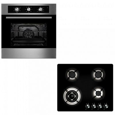 Oven & Hob Pack COF600SS GGH609BK | Cookology 60cm Stainless Steel Built-in Electric Fan Oven & Gas-on-Glass Hob Pack