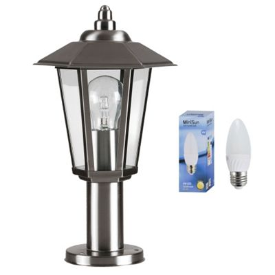 Mottram Outdoor IP44 LED Post Top Wall Lantern in Brushed Chrome with Warm White