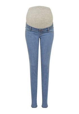 Mamalicious Over-Bump Slim Leg Maternity Jeans Light Wash 29 Waist