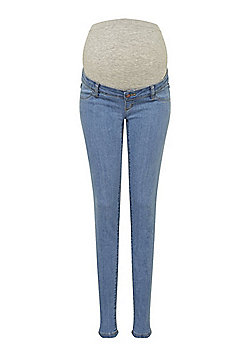 Mamalicious Over-Bump Slim Leg Maternity Jeans - Light Wash