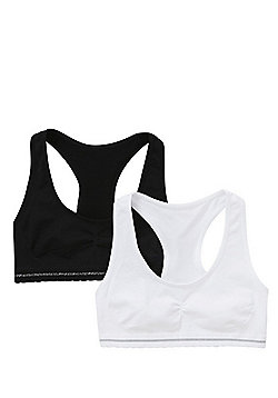F&F 2 Pack of Seamfree Racerback Crop Tops - White & Black