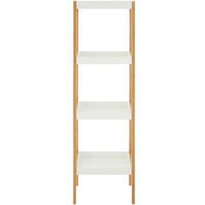 Poales - Bamboo Wood 4 Tier Tower Storage With Tray Shelves - Brown / White