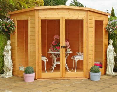 Finewood Barclay 8x8ft Corner Summerhouse with safety glazing u0026 double doors & Buy Finewood Barclay 8x8ft Corner Summerhouse with safety glazing ...