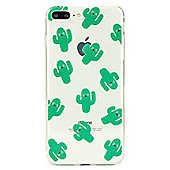 iPhone 8 Plus Cute Cactus Pattern Clear Silicone Case - Green
