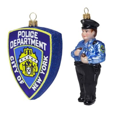 NYPD Police Officer & Shield Mouth-Blown Glass Christmas Tree Bauble Decoration Set