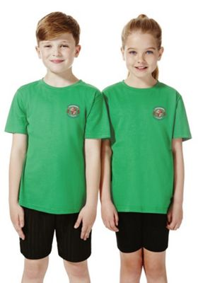 Unisex Embroidered Sports T-Shirt 8-9 years Emerald green