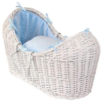 Clair de Lune White Noah Pod Moses Basket (Marshmallow Blue)