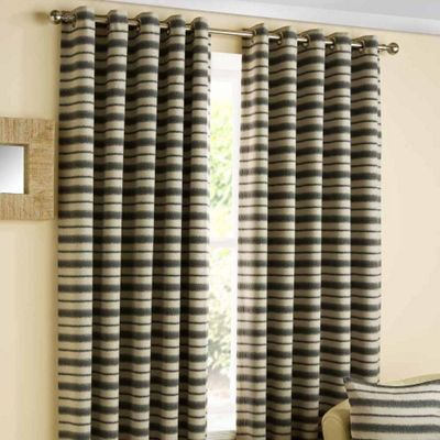 Homescapes Striped Charcoal and Beige Ready Made Eyelet Curtain Pair 46x72