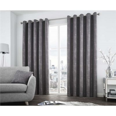 Curtina Solent Graphite Eyelet Curtains - 46x72 Inches (117x183cm)