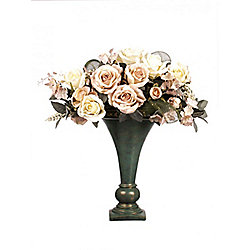Artificial 55cm Pink & White Rose and Foliage Display in a Teal and Gold Ceramic Vase