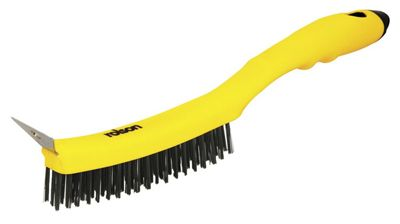 Rolson Yellow Row Steel Wire Brush with Scraper