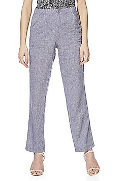 F&F Linen-Blend Chambray Trousers - Blue