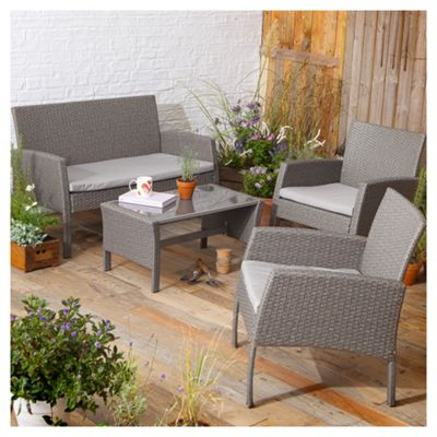 tesco san marino 4 piece rattan garden lounge set grey - Rattan Garden Furniture Tesco