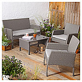 Tesco San Marino 4 Piece Rattan Garden Lounge Set, Grey