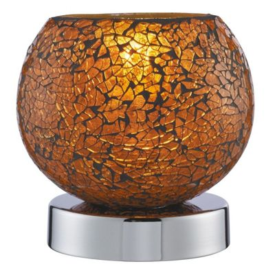 TOUCH LAMP - CRACKLE ORANGE MOSAIC GLASS, CHROME BASE