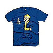 Fallout Vault Boys Thumbs Up Small T-shirt, Blue (ge1646s) - Gaming T-Shirts