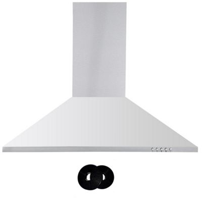 Cookology CH700SS 70cm Chimney Cooker Hood, Kitchen Extractor Fan in Stainless Steel & Carbon Filters