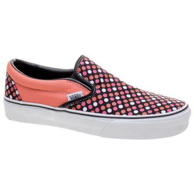 Vans Classic Slip On Deep Sea Coral/Black Polka Dots Shoe 58570