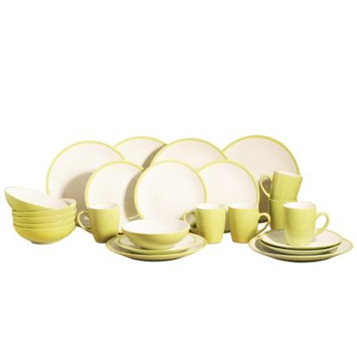 24 Piece Lime 2 Tone Dinner Set