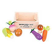 Bigjigs Toys BJ845 Wooden Play Food Vegetable Market Crate