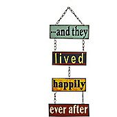 Nicola Spring Hanging Metal 4 Panel Wall Plaque - And They Lived Happily Ever After