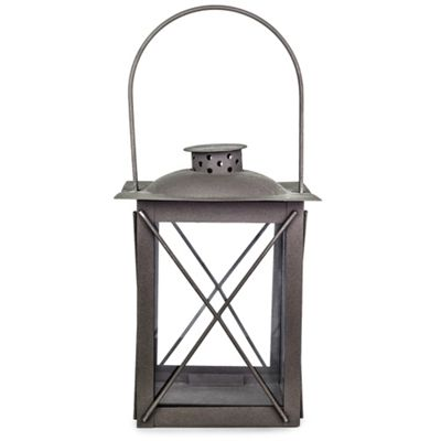 Farol' Charcoal Grey Metal Traditional 20cm Garden Lantern with Handle